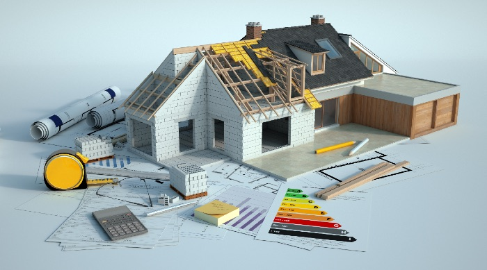house frame with Energy Efficient sticker